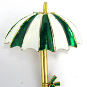 Gerrys Vintage Umbrella Green & White Enamel Pin Brooch