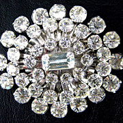 SALE Large Vintage Oval Burst Clear Rhinestone Brooch/Pin