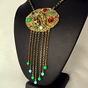 Vintage Egyptian Revival Cat Head Serpent Snake Fringe Necklace