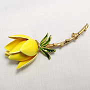 Vintage Yellow Enamel Rose Flower Pin Brooch
