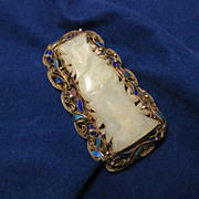 Vintage Chinese Carved Agate and Enamel  Scrollwork Vine Trapezoid Brooch Pin
