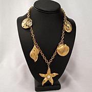Kenneth Jay Lane KJL for Avon Large Nautical Starfish Seashell Charm Necklace