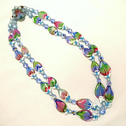 Vintage Double Strand Blue Pink Lilac Green Bead Art Glass Necklace