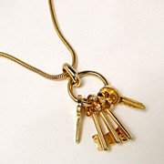 Vintage Gold Tone Long Necklace Key Ring with Key Charms