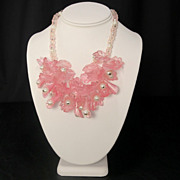 Vintage Pink and Clear Plastic Bead Floral Fringe Necklace