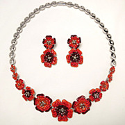 Vintage Bright Floral Orange and Red Rhinestone Necklace and Earring Set