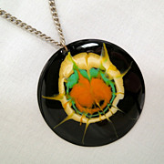 Vintage Sheffield England Stainless Steel Black Splatter Enamel Medallion Necklace