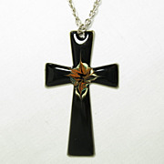 Vintage Sheffield England Stainless Steel Black Splatter Enamel Christian Cross Necklace