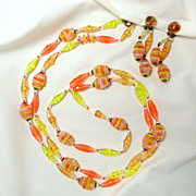Vintage W Germany Yellow, Orange, Pink Art Glass and Plastic Bead Necklace and Earring Set