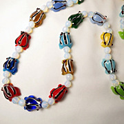 Vintage Art Glass Frog Multi-Color Bead Necklace