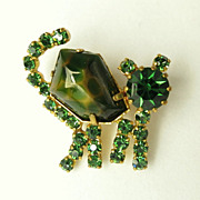 Vintage Austria Green Cat Art Glass and Rhinestone Pin/Brooch