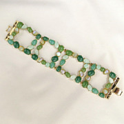 Vintage Petite Shades of Green Cabochon Wide Square Link Bracelet