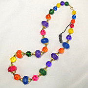 Vintage Illuminating Colorful Faceted Chunky Jewel Tone Lucite Bead Necklace