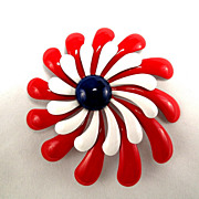 Vintage Red White and Blue Big Daisy Flower Pinwheel Enamel Pin Brooch