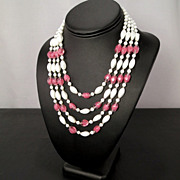 Vintage W Germany Pink and White Milk Art Glass Four Strand Necklace