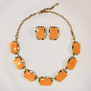 Vintage Orange Persimmon Thermoset Link Necklace and Earring Set