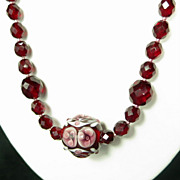 Vintage Czech Garnet Red Glass Faceted Bead Floral Necklace