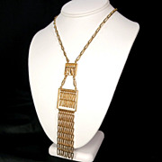 Retro Vintage Geometric Gold Tone Chain Fringe Necklace