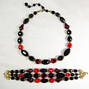 Vintage Crown Trifari Faceted Black Red / Orange Glass Bead Necklace and Three Strand Bracelet
