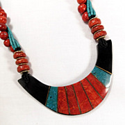 Vintage Red and Blue Turquoise Colored Inlay Pendant Bead Necklace