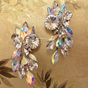 Vintage Large Austrian Crystal Rhinestone Cluster Clear AB Clip Earrings