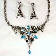 Vintage Atomic Blue Topaz Rhinestone Starburst Necklace and Earrings Set � Originals by Anthon