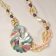 Vintage Strands of Mother of Pearl Bead Pastel Shell Inlay Bird Necklace