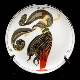 House of Erte Flames of Love Franklin Mint Collectible Porcelain 8 Inch Plate
