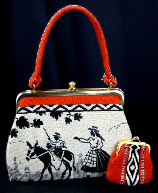Vintage Woven Folk Art Southwestern Orange/Black Handbag with Coin Purse