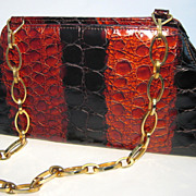 SALE Melian Demi Croc Purse Deep Amber/Black w/ Chain Link Handle - Made in Spain