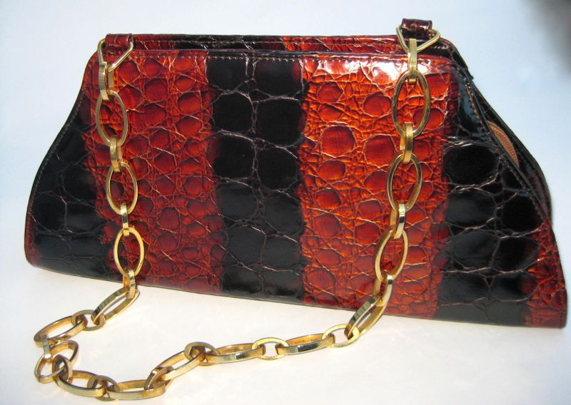 Melian Demi Croc Purse Deep Amber/Black w/ Chain Link Handle - Made in Spain