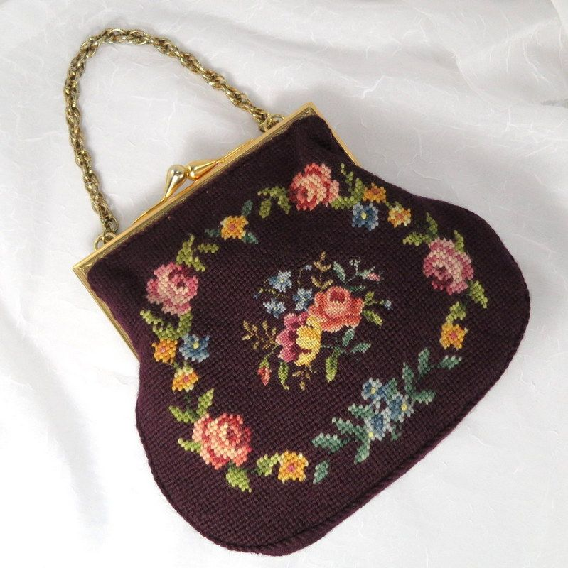 Vintage Floral Plum Maroon Petit Needlepoint Purse