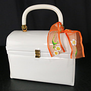 Vintage Verdi White Patent Hard Case Lunchbox Box Purse