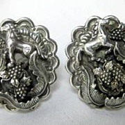SALE Sterling Equestrian Galloping Horse and Grape Cluster Layered Repousse Clip Earrings