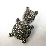 SALE Vintage Sterling Marcasite Figural Bear Brooch/Pendant