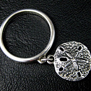 Sand Dollar Charm Sterling Silver Dangle Finger Ring Signed Avery - Size 6.5