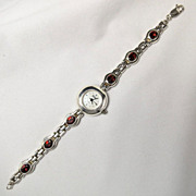 SALE Vintage BOMA Sterling Silver Garnet Birthstone Bracelet Link Timepiece Watch