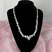 SALE Vintage HMI Sterling and Clear Marquise, Teardrop and Round Cubic Zirconia Link Necklace