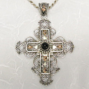 REDUCED Vintage Grandeur Sterling Silver 18K Gold Bali-Style Black Onyx Christian Cross 30 Inc