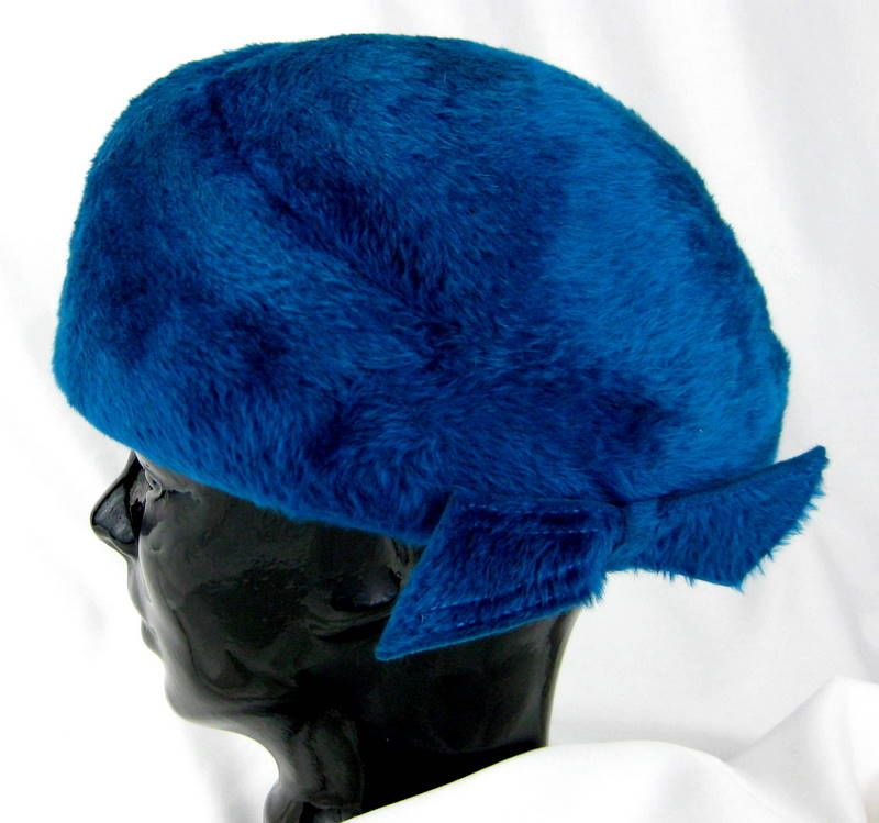 Christine Vintage Blue Christine Faux Fur Cold Weather Winter Hat –Italy