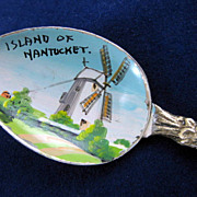 Island of Nantucket Windmill Vintage Souvenir Enamel Bowl Spoon