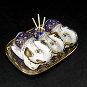 Vintage Ceramic Enamel Thai Elephant Salt & Pepper Toothpick Holder and Tray Set