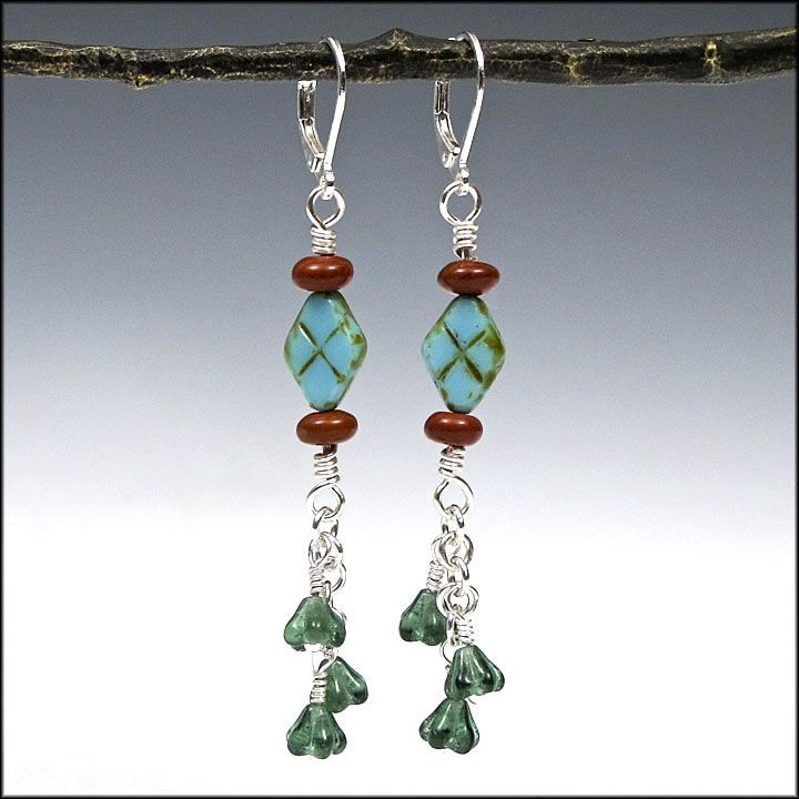 Blue and Green Czech Glass with Red Jasper - X Marks the Spot - Gifts for Her