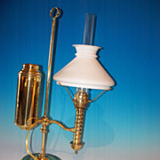 Brass student lamp, American 19th century, probably NY mfgr.