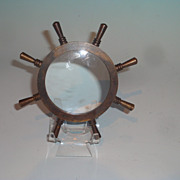 Victorian brass ships wheel magnifying glass