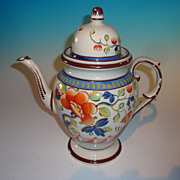 Gaudy Dutch Single Rose High Dome Coffee Pot
