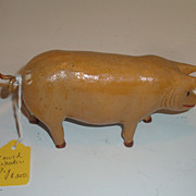 REDUCED Small wood carving of a Pig