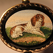 14k Gold Micro Mosaic Brooch of a King Charles Spaniel