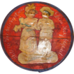 Small Painted Wooden Box with colored cut-out of boy and girl on the lid
