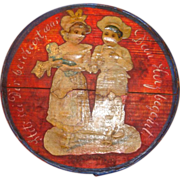 REDUCED Small Painted Wooden Box with colored cut-out of boy and girl on the lid